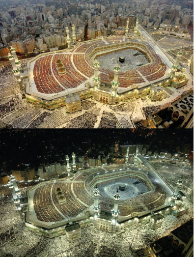 Makkah Mosque:Day and Night
